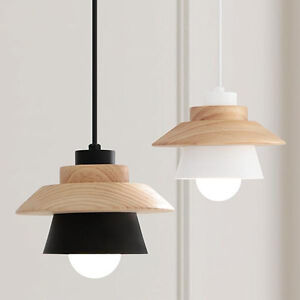 Image Is Loading Modern Wood Pendant Light White Black Metal Bar
