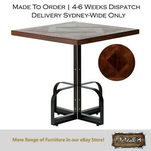 Vintage Reclaimed Timber Bistro Cafe Dining Table With Walnut Parquetry Top Ebay