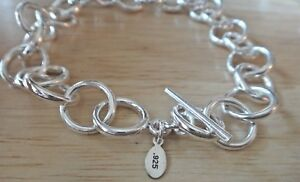 7-034-Sterling-Silver-11gram-large-13mm-Rolo-Round-link-Charm-Bracelet-Toggle-Claso