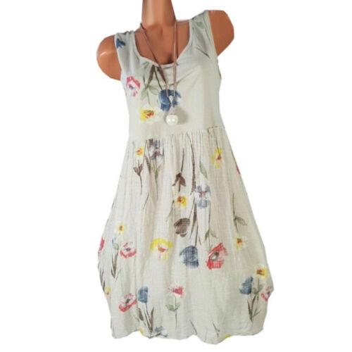 Damen Blumen Kleid Trägerkleid Party Sommerkleid Freizeitkleid Übergröße Longtop