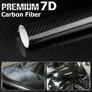 7D Ultra High Gloss Glossy Carbon Fiber Vinyl Wrap Sticker Decal 90*30 cm Black