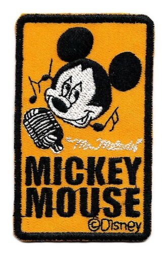 "2X3/"" Mr Melody Mickey Mouse IRON ON SEW ON PATCH guitar music lover singer mic"