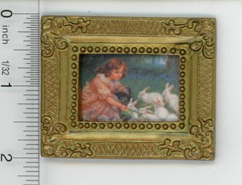 Dollhouse Miniature Art Gold Framed Vintage Looking Print of a Girl Feeding Ra