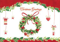 Wreath And Hanging Presents Box Of 18 Christmas Cards By Designer Greetings