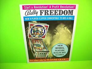 stable quality on feet shots of entire collection Details about Bally FREEDOM 1976 Original Flipper Game Pinball Machine  Promo Sales Flyer Rare