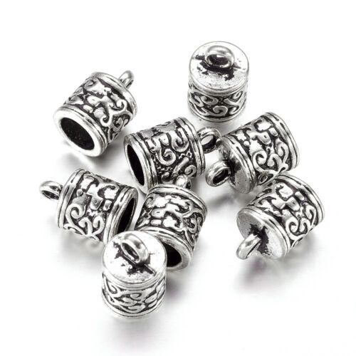 20pcs Tibetan Alloy Column Glue-in Cord Ends Decorative Antique Silver Cup 13mm