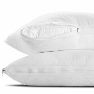 Pair of Pillow Protectors Zipped Water Resistant Anti Allergenic Dust Mite Proof