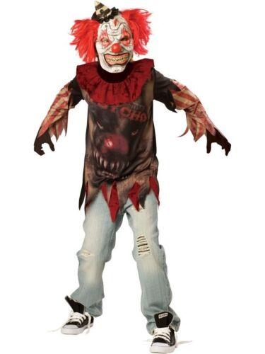 Teens Boys Creepy Evil Zombie Sideshow Clown Halloween Fancy Dress Costume 10-16