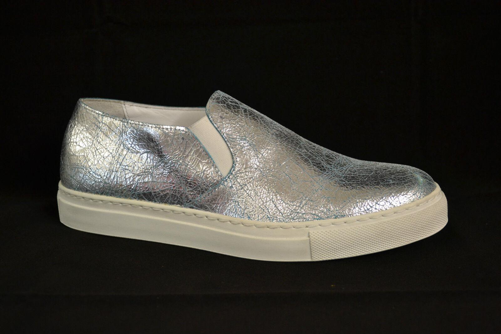 Pelle Vera Artigianali Sneakers In Scarpe Made Argento SwqU88zT