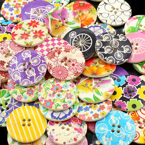 Home Use 25pcs 30mm 4 Holes Wood Sewing Buttons Scrapbooking Jewelry Findings