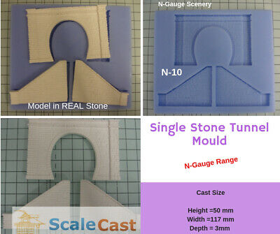 N-Gauge Double Tunnel mould for Model Railway scenery in N Scale N05