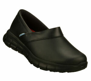 Details about 76542 Skechers Women's SURE TRACK BERNAL SLIP RESISTANT Memory Foam BLACK