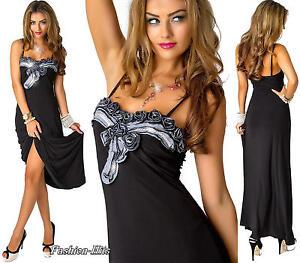 schwarzes abendkleid maxikleid trägerkleid damenkleid m stoffrosen s m l  ebay