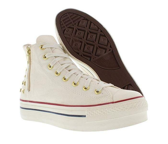Chuck Taylor EGRET Square Metal Studs Zipper Converse Ankle Hi Schuhes Wm 9 DISC