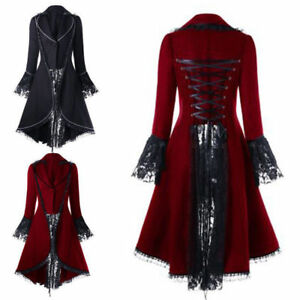 Women-Gothic-Vintage-Steampunk-Tailcoat-Long-Jacket-Lace-Medieval-Jacket-Costume