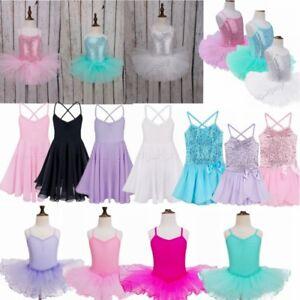 Girls-Ballet-Tutu-Leotard-Skirt-Gymnastics-Dancing-Dress-Kids-Dancewear-Costume