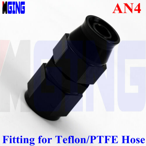 4AN AN4 Straight PTFE E85 Swivel Fuel Line Oil Hose End Fitting Adaptor Black
