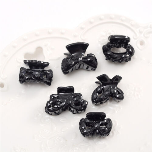 10pcs Popular Mixed Small Plastic Black Hair Clips Hairpin Claws Clam WU