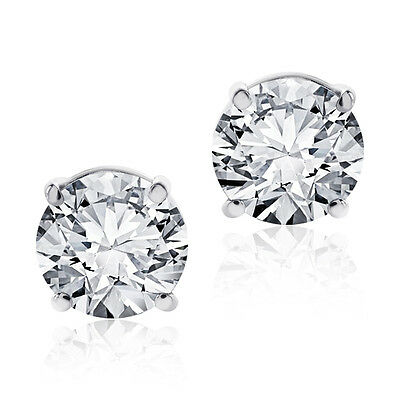 1.00 CT ROUND BRILLIANT CUT PUSHBACK BASKET STUD EARRINGS SOLID 14K WHITE GOLD