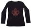 "2X Women/'s Rhinestone T-Shirt /"" Red Fleur de Lis /"" in S L XL 3X M"