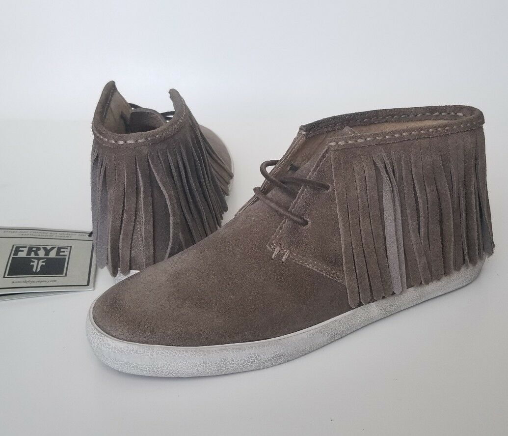 Frye Dylan Fringe Grey Suede High Top Sneakers Ankle Moccasins Women's Size 8.5