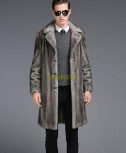 e6c3f30d332f46 Luxury Mens Real Fur Long Jacket Outerwear Winter Warm Coat Overcoat ...