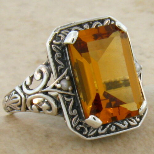 HYDRO CITRINE ANTIQUE DESIGN .925 STERLING SILVER RING SIZE 7.75 #282 3.5 CT