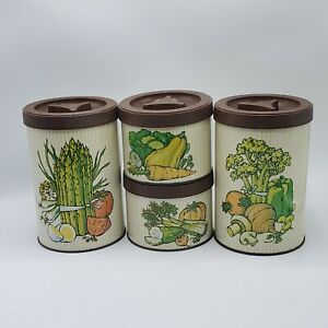 Set-of-4-Vintage-Ballonoff-Metal-Kitchen-Canisters-Harvest-Vegetable-NICE