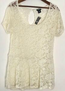 5f6f6702ed2f4 TORRID Lace Peplum Top Size 0 0X Cream Sheer Blouse Shirt Short ...