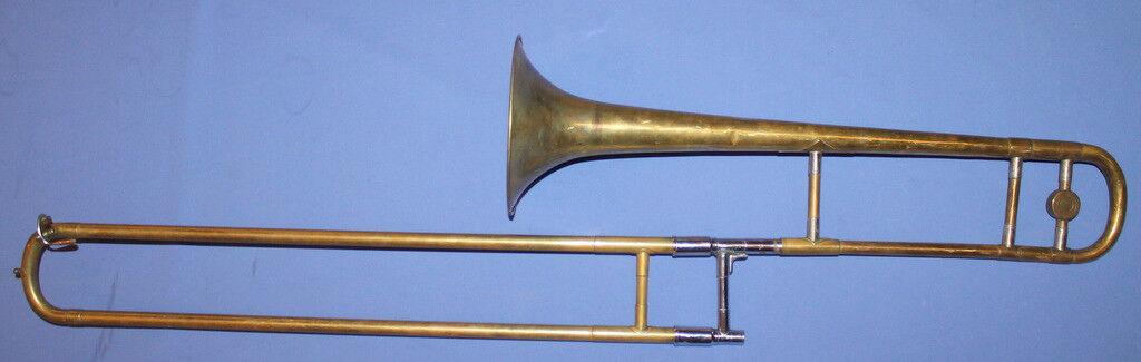 Antique Brass Trombone With Case