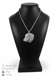 Dachshund-type-2-silver-plated-pendant-with-silver-cord-Art-Dog-IE