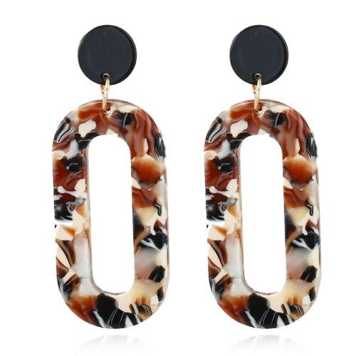 Boho Geometric Women Acrylic Round Hoop Dangle Hook Ear Stud Earrings Jewelry