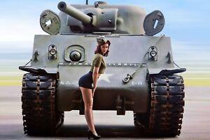 Sherman-tank-Nice-Girl-Pinup-retro-Antique-Soldier-woman-War-Photo-WW2-4x6-Q