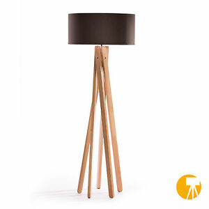 tripod stehleuchte anthrazit buche holz stativ design stehlampe leuchte h 160cm ebay. Black Bedroom Furniture Sets. Home Design Ideas