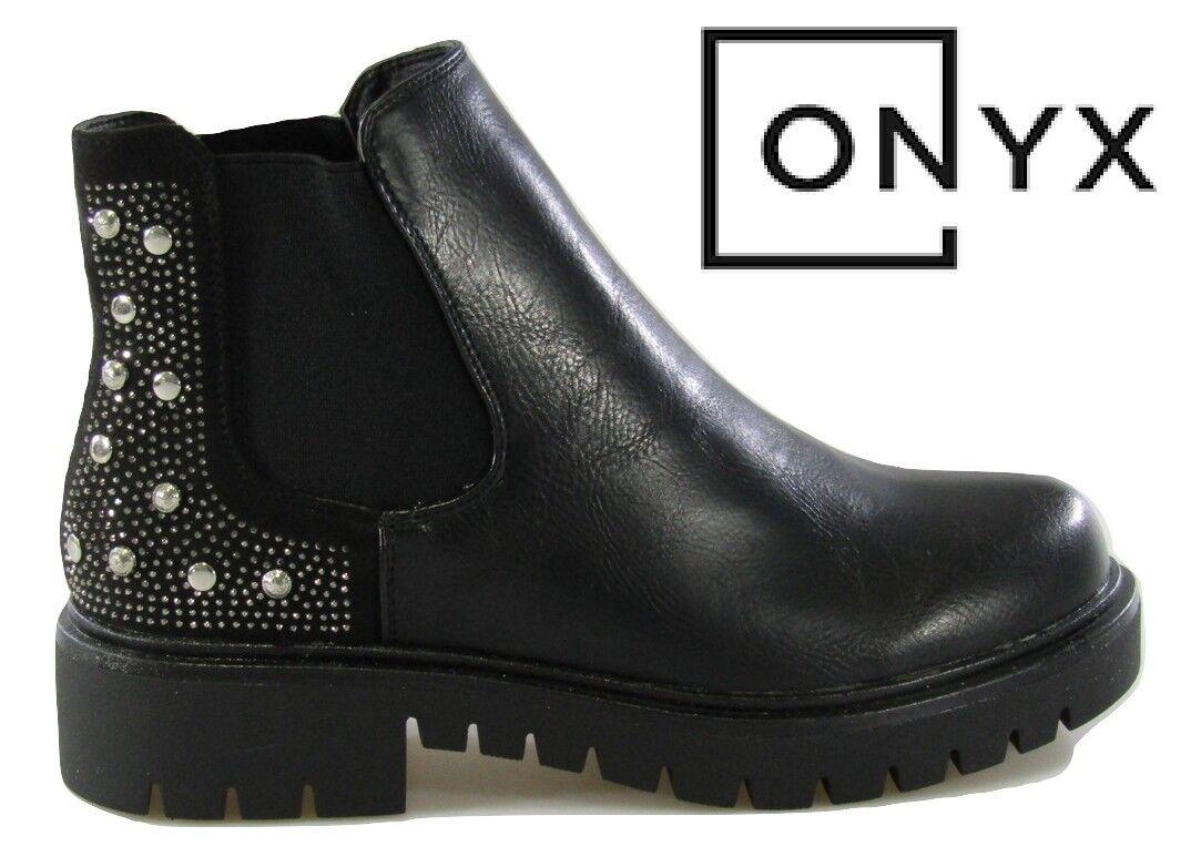 Chaussures Bottes Verni Femmes Onyx Bottes d'hiver en cuir avec rivets Hupf