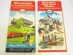 VINTAGE ROAD MAPS ENCO OIL COMPANY NS DAKOTA NEBRASKA MILWAUKEE - Antique road maps