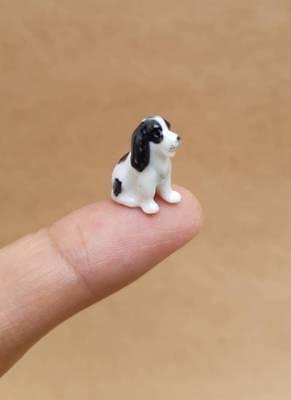 Tiny Cocker Spaniel Puppy Adorable Dog Miniature Ceramic Figurine