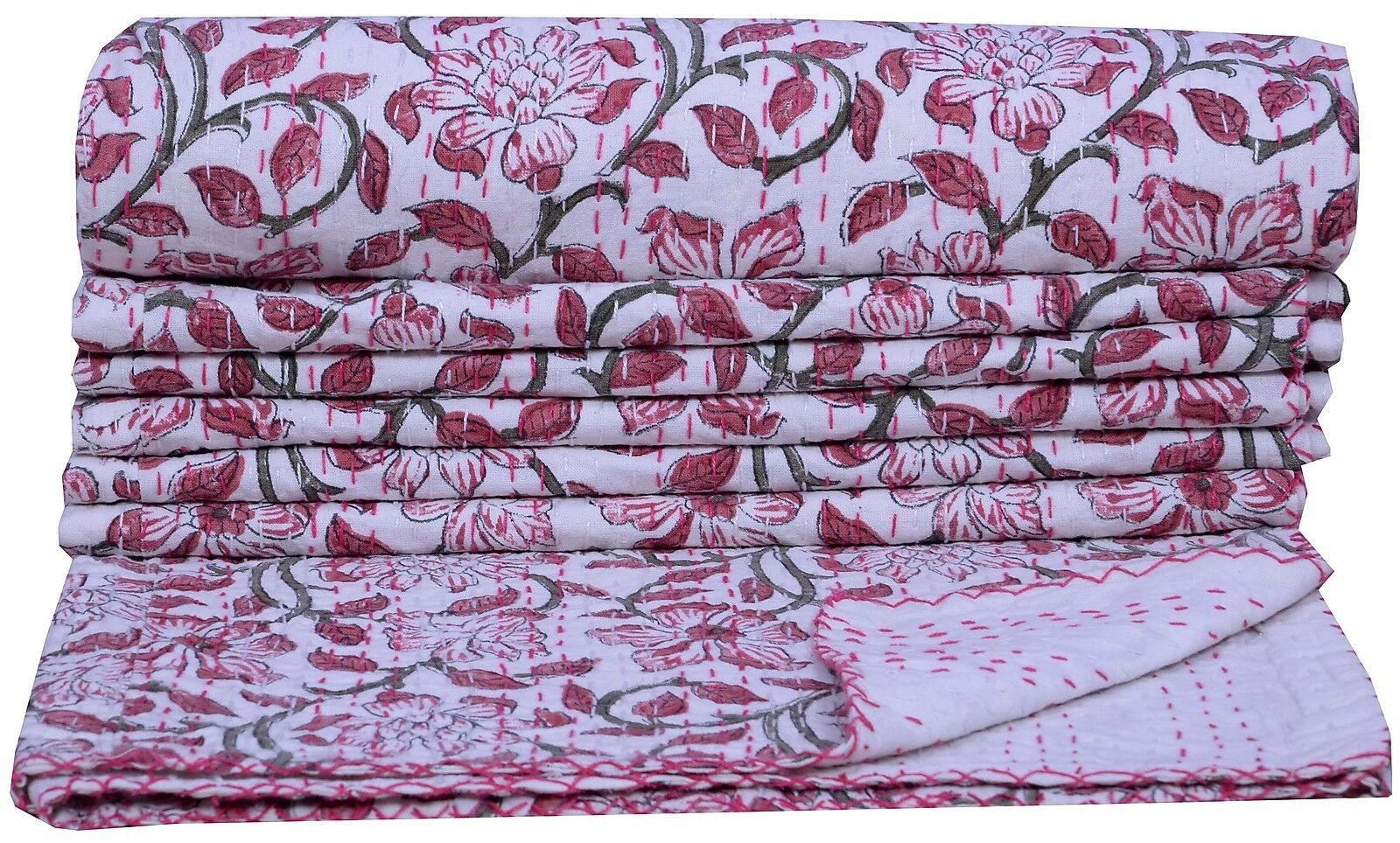Indian Floral Print Kantha Quilt Twin Bedspread Home Decor Bedding White Blanket