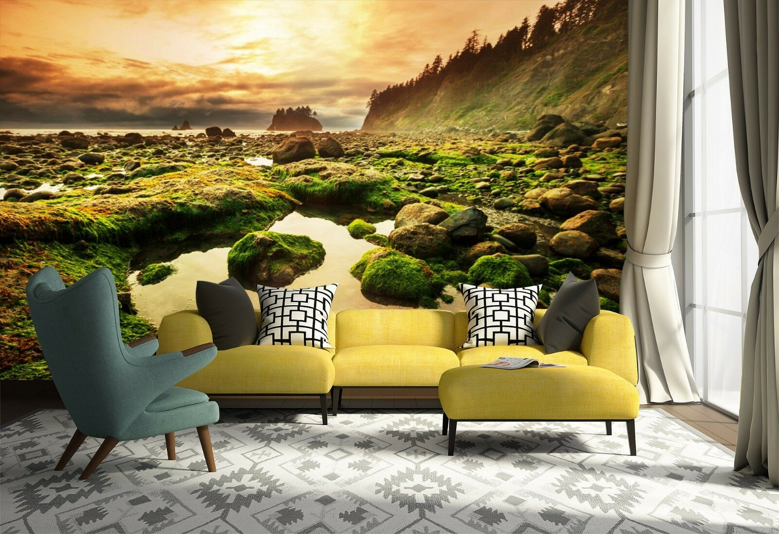 3D Sunset forest 252 Wall Paper wall Print Decal Wall Deco Indoor wall Mural