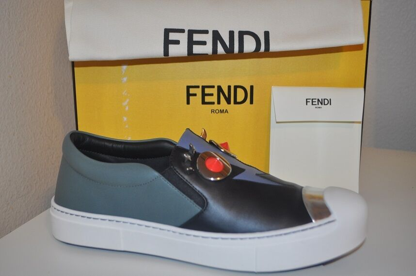 NIB NIB NIB FENDI Monster Faces Studded Slip On Round Toe Skate scarpe da ginnastica scarpe 40 - 10 f89b2a