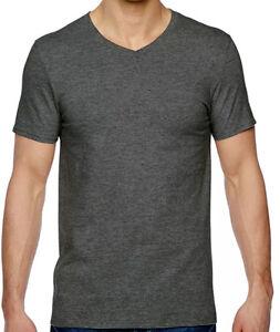 Hanes premium tagless men 39 s v neck charcoal grey t shirt 3 for Hanes premium men s 6pk v neck t shirt white