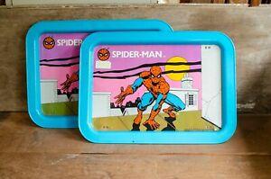 2-Vintage-Spiderman-Marvel-Comics-Metal-TV-Tray-1979-Used