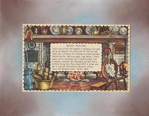 VINTAGE LITHOGRAPH PRINT COLONIAL COOKING HEARTH INDIAN PUDDING RECIPE COLLAGE