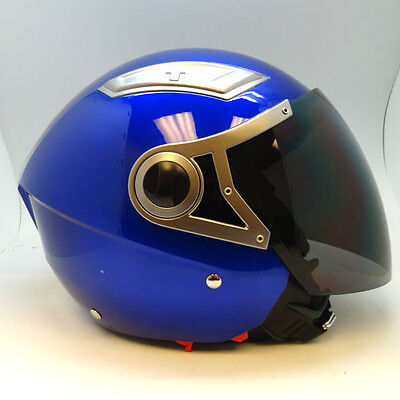NEW 1STORM MOTORCYCLE SCOOTER BIKE OPEN FACE 3//4 HELMET DUAL VISOR GLOSSY RED
