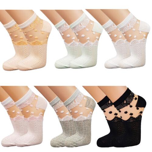 6 Paar Kurz Socken Ballerina Füßlinge Transparent Kristall Spitze 35-41