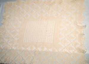 Vtg Crochet Doily Table Topper Hand Crafted 30 in Sq Ivory Pineapple Farmhouse