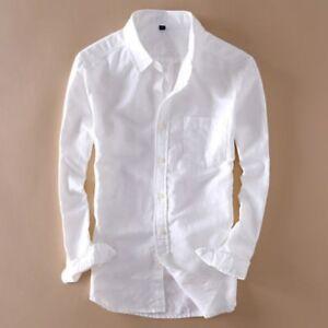 Homme-lin-coton-a-manches-longues-Slim-Fit-Chemises-Mince-ecran-solaire-Chemise-Decontractee