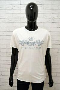 Maglia-REPLAY-Uomo-Taglia-Size-XL-Maglietta-Shirt-Man-Cotone-Manica-Corta-Bianco