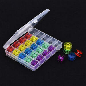 25-x-Sewing-Machine-Bobbins-Spool-Plastic-For-Brother-Janome-Singer-with-Box-qwe
