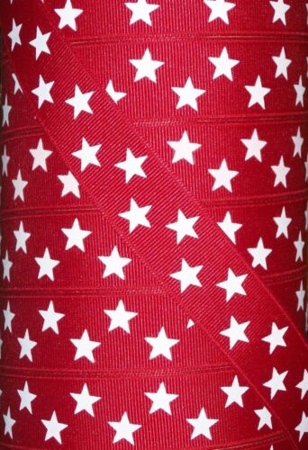 "wide RED//WHITE PATRIOTIC STAR PRINTED GROSGRAIN RIBBON 22mm 2 yards 7//8/"""